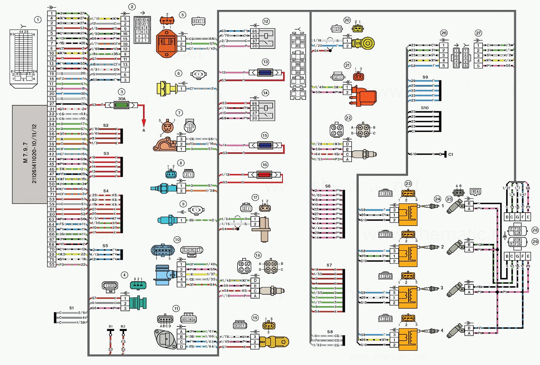 Схема проводов приора