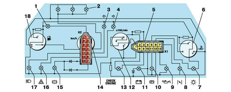 Комбинация приборов ВАЗ 2110. Схема